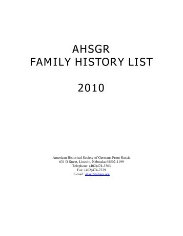 ahsgr family history list 2010 - American Historical Society of ...