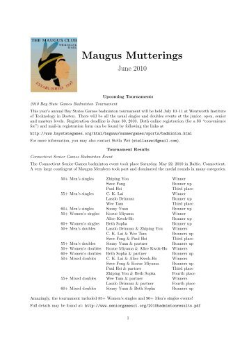 June 2010 Mutterings - The Maugus Club