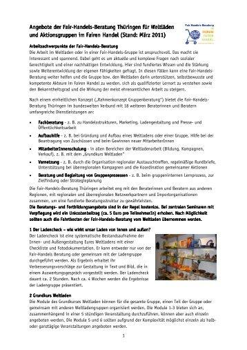 Angebote der Fair Angebote der Fair-Handels-Beratung ... - Weltladen