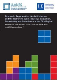 Economic Regeneration, Social Cohesion, and the Welfare ... - llakes