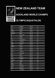 new zealand team auckland world champs olympic/aquathlon