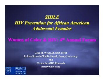 SIHLE HIV Prevention for African American Adolescent Females ...