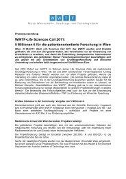 WWTF-Life Sciences Call 2011: 5 Millionen € für die ... - Wwtf.at