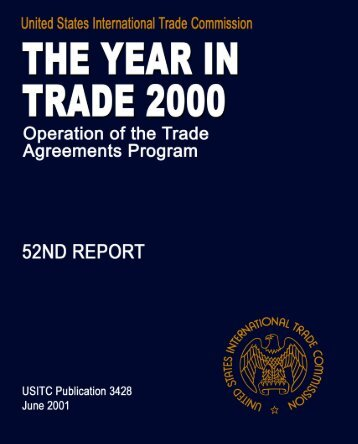 The Year in Trade 2000 Operation of the Trade Agreements ... - USITC