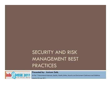 SECURITY AND RISK MANAGEMENT BEST PRACTICES
