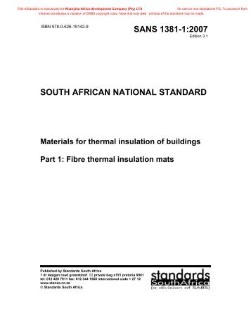 SANS 1381-1:2007 - Africa Thermal Insulations