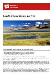 Ladakh & Spiti - Parang La Trek - Weltweitwandern