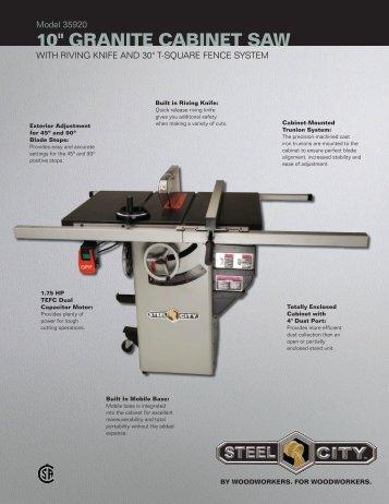 "10"" GRANITE CABINET SAw - Steel City Tool Works"