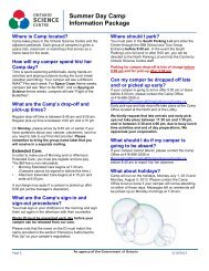 Summer Day Camp Information Package - Ontario Science Centre