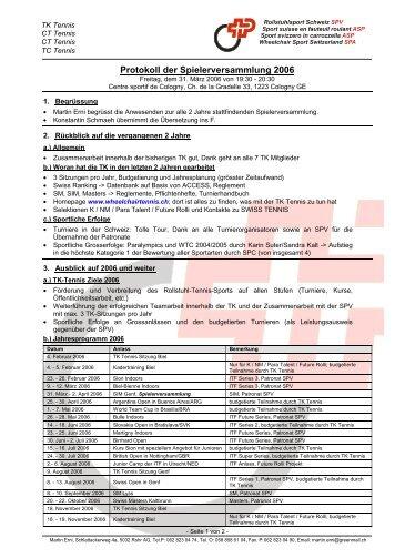 Protokoll der Spielerversammlung 2006 - Rollstuhl - Tennis Schweiz