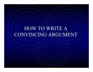 HOW TO WRITE A CONVINCING ARGUMENT - MyLaurier