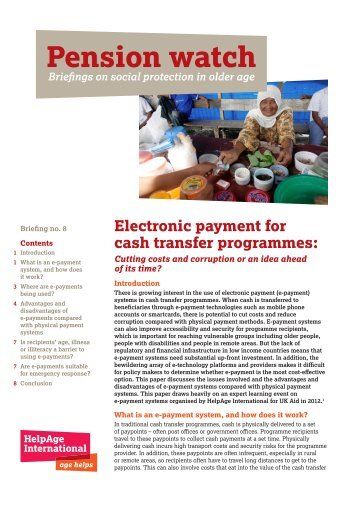 Electronic payment for cash transfer programmes: - Helpage ...