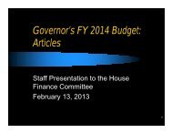 Governor's FY 2014 Budget: Articles - State
