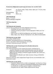 Protokoll der Mitgliederversammlung der Grünen Uni vom 05.07 ...