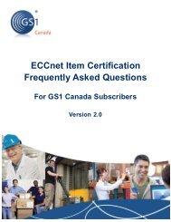ECCnet Item Certification GS1 Canada Member FAQs