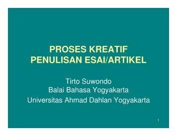 PROSES KREATIF PENULISAN ESAI/ARTIKEL