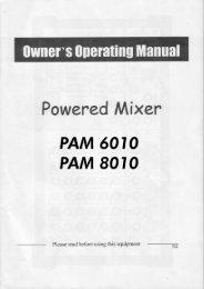 Powered Mixer' PAM 6010 PAM 8010 - Karma