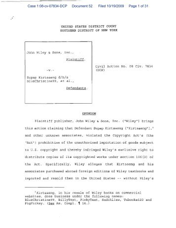Case 1:08-cv-07834-DCP Document 52 Filed 10/19/2009 Page 1 of ...
