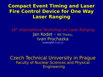 Compact Event Timing and Laser Fire Control Device for One ... - Nasa