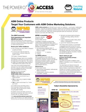 ASM Online Products Target Your Customers ... - ASM International
