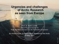 Urgencies and challenges of Arctic Research as seen from Europe