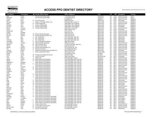 Ppo Provider Lists Dominion Dental Services Inc