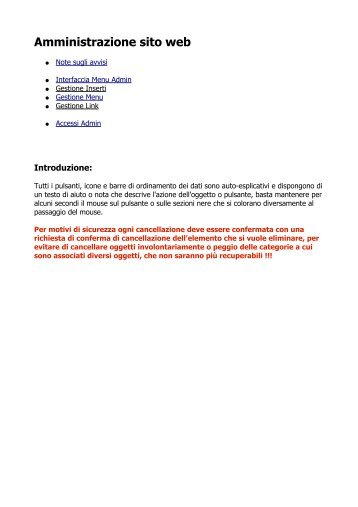 Amministrazione sito web