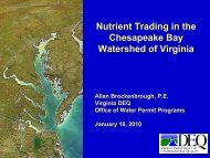 Nutrient Trading in the Chesapeake Bay Watershed of Virginia