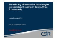 The efficacy of innovative technologies in subsidised housing - SAHF