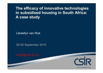 The efficacy of innovative technologies in subsidised housing - SAHF