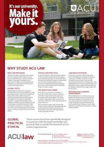 ACU Faculty of Law Brochure