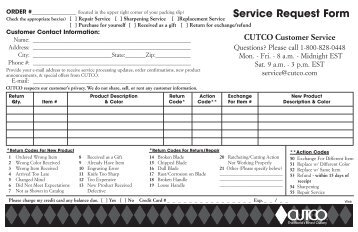 Service Request Form - Cutco