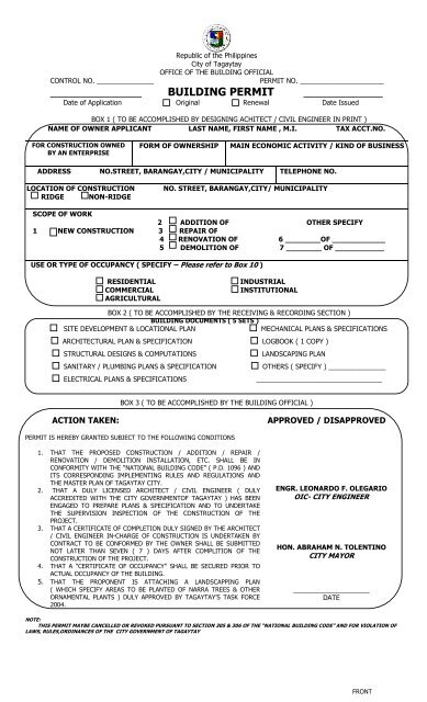 APPLICATION FORM FOR BUILDING PERMIT