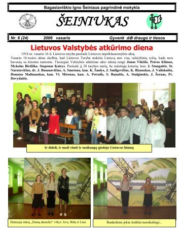 2006-02, Nr.24 - Bagaslaviškio Igno Šeiniaus pagrindinė mokykla