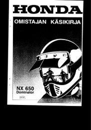 NX650 1991-1995 käsikirja (.pdf, 2.43 MB) - Honda