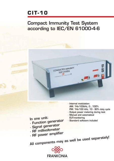 CIT-10 Compact Immunity Test System according to IEC/EN