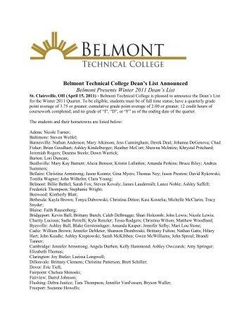 Belmont Presents Winter 2011 Dean's List - Belmont College