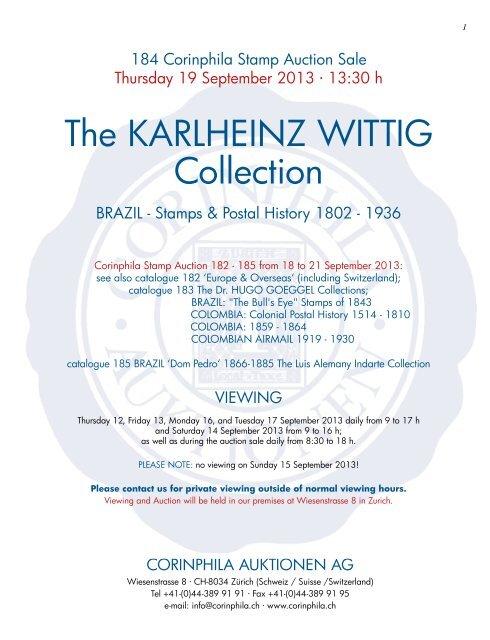 The KARLHEINZ WITTIG Collection - Corinphila Auktionen AG