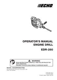 OPERATOR'S MANUAL ENGINE DRILL EDR-260 - Echo Inc.