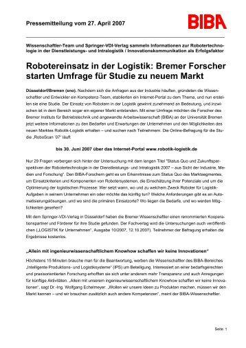 Robotereinsatz in der Logistik: Bremer Forscher starten Umfrage für ...