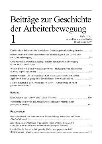 Beiträge zur Geschichte der Arbeiterbewegung - Trafo Verlag