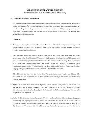 ALLGEMEINE GESCHÄFTSBEDINGUNGEN - Österreichische ...
