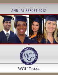 ANNUAL REPORT 2012 - WGU Texas - Western Governors University