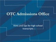 OTC Admissions Office - Ozarks Technical Community College