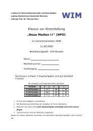 Klausur zur Veranstaltung - Institut für Wirtschaftsinformatik und ...