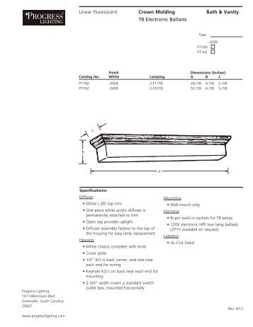 Specifications for Progress Lighting Model P7162 - Hansen Wholesale