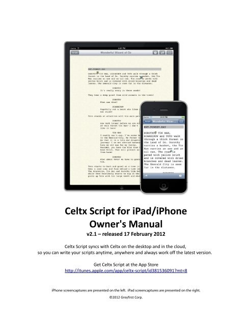 Celtx Script for ipad/iphone Owner's Manual