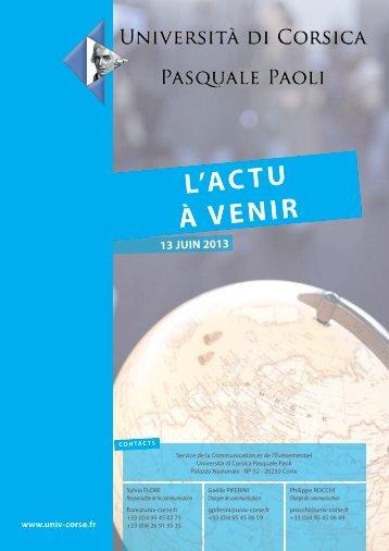 L'actu à venir - 13/06/2013 - Università di Corsica Pasquale Paoli