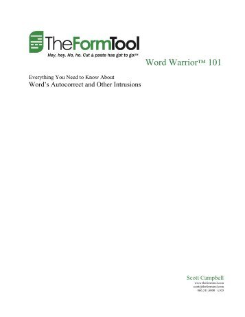 Word Warrior™ 101: Word's AutoCorrect and Other ... - TheFormTool