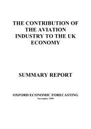 The Contribution of the Aviation Industry to the UK Economy